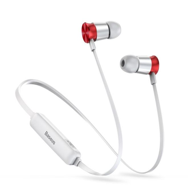 Baseus Baseus - Wireless Bluetooth Sport Kopfhörer - Encok S07 Series Headset - silber/rot