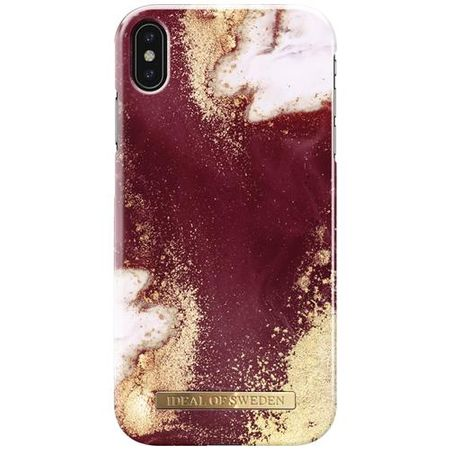 iDeal of Sweden - iPhone XS Max Hülle, Designer Case Golden Burgundy Marble - mehrfarbig