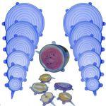 Silikonabdeckung für Obst und Tupperware - Blau (6 Stück in verschiedenen Grössen)