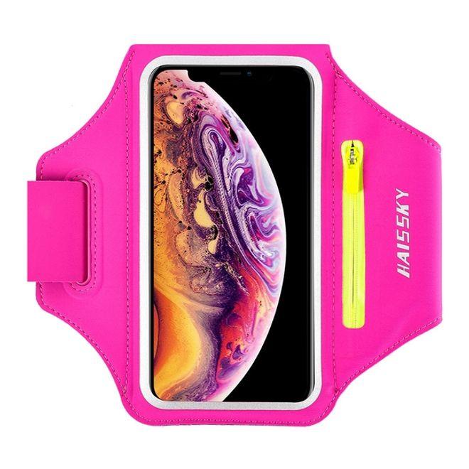 """HAISSKY Universal - Sport Armband für Smartphones bis 6.5"""" - Fach für AirPods Ladecase - pink/gelb"""