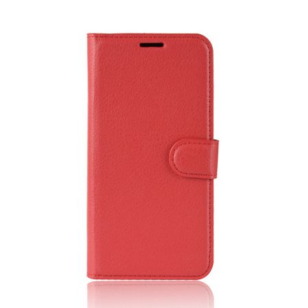 Samsung Galaxy M20 Handy Hülle - Litchi Leder Bookcover Series - rot