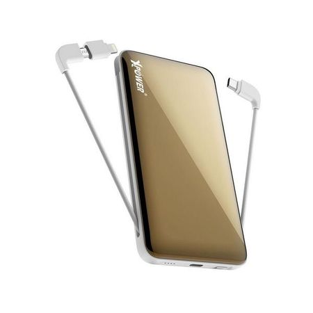 XPower - Powerbank mit fixem MFi Lightning/Typ-C/Micro USB Kabel - 10000mAh 18W - PD10A - gold