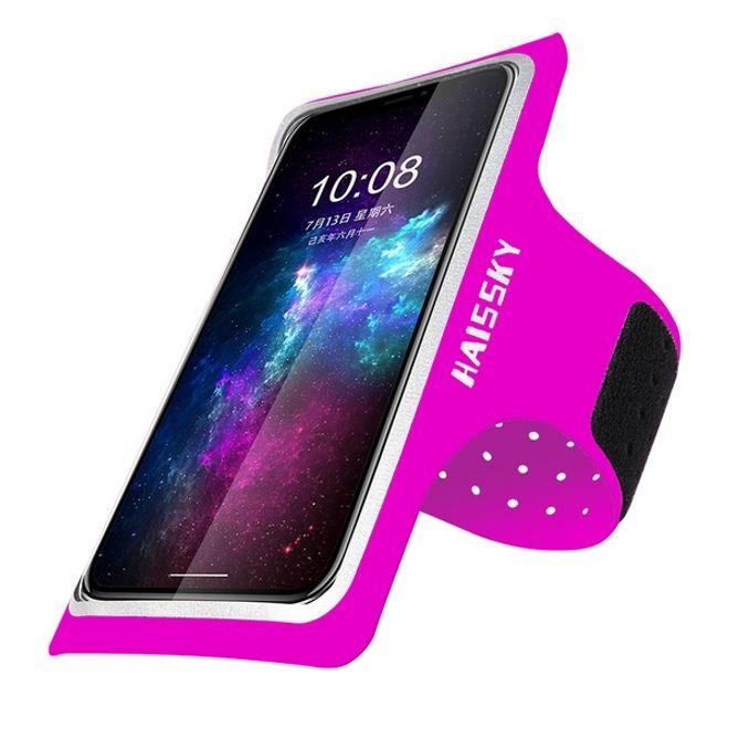 """HAISSKY Universal - Sport Armband für Smartphones bis 6.5"""" - mit Verschlusskappe - pink"""