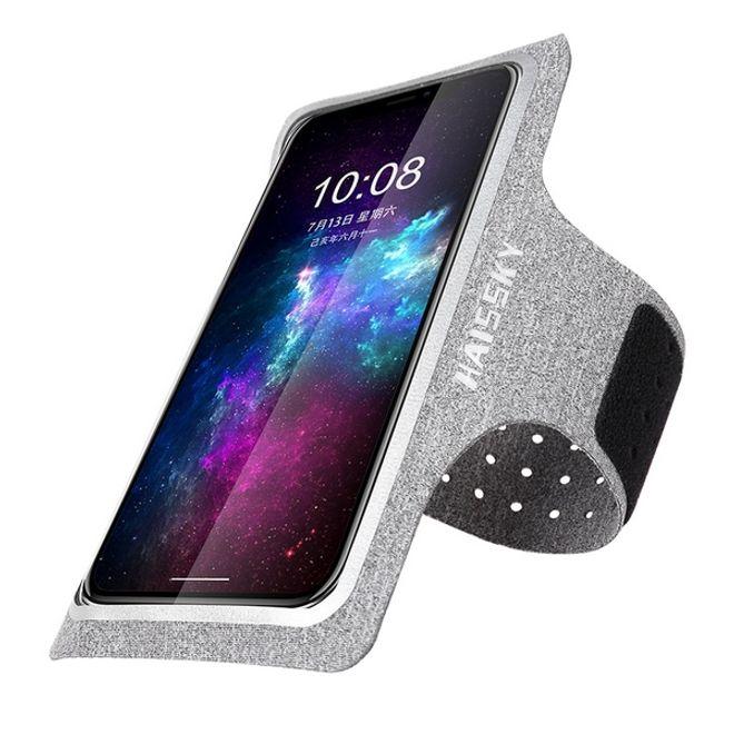 """HAISSKY Universal - Sport Armband für Smartphones bis 6.5"""" - mit Verschlusskappe - grau"""
