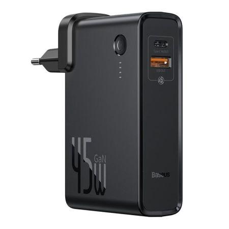 Baseus - 2in1 USB Ladegerät & Power Bank (10000mAh, 1x Typ-C & 1x USB-A, 45W GaN) - schwarz