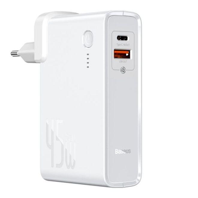 Baseus Baseus - 2in1 USB Ladegerät & Power Bank (10000mAh, 1x Typ-C & 1x USB-A, 45W GaN) - weiss