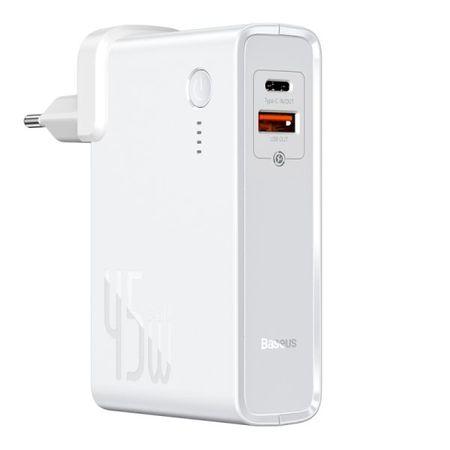 Baseus - 2in1 USB Ladegerät & Power Bank (10000mAh, 1x Typ-C & 1x USB-A, 45W GaN) - weiss