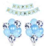 Happy Birthday Girlande und Luftballone - blau
