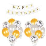 Happy Birthday Girlande und Luftballone - gold