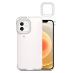 iPhone 12 / iPhone 12 Pro Hülle mit LED Selfie Ringlicht - Hardcase mit Beauty Light - weiss